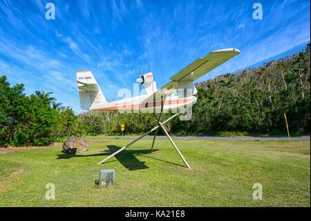 Alte Air Whitsunday Wasserflugzeug angezeigt außerhalb Flughafen Whitsunday, Airlie Beach, Whitsunday Coast, QLD, - Stockfoto