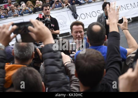 San Sebastian, Spanien. 25. September, 2017. Schauspieler Arnold Schwarzenegger während der 65Th San Sebastian Film - Stockfoto