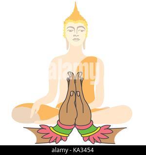 Buddha und zwei Hände zum Gebet, Vector Illustration - Stockfoto