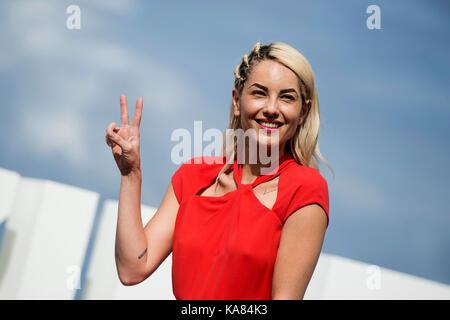 "San Sebastian, Spanien. 25 Sep, 2017. Schauspielerin Barbara Mori am fotoshooting der ""Operacion Concha' während - Stockfoto"