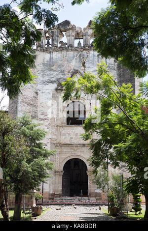 Das Kloster von San Juan Bautista stark von einer 7.1 Erdbeben in Tlayacapan beschädigt, Morelos, Mexiko am 24. - Stockfoto