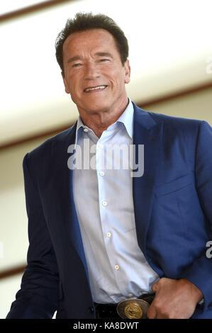 """San Sebastian, Spanien. 25 Sep, 2017. Arnold Schwarzenegger Besucht das """"Wunder von Meer 3 D'photocall während 65th - Stockfoto"""