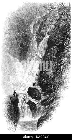 1870: Besucher bewundern Lager Ghyll Kraft, eine spektakuläre 70 Fuß hohen Wasserfall auf einem Nebenfluss des Flusses - Stockfoto