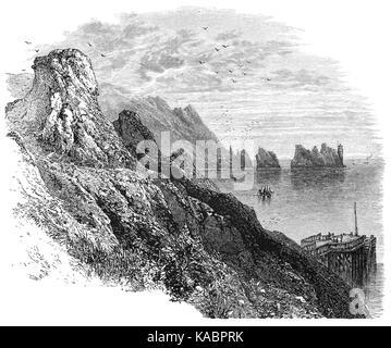 1870: Die Nadeln ist eine Reihe von drei markanten Stapel von Chalk, ungefähr 100 Fuß aus dem Meer steigen aus den - Stockfoto