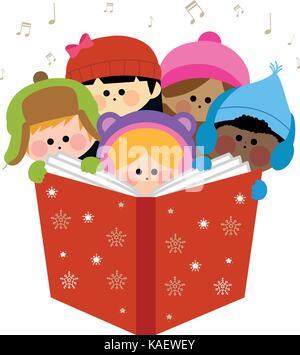gruppe von kindern singen weihnachten weihnachtslieder im. Black Bedroom Furniture Sets. Home Design Ideas