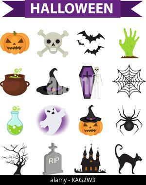 Happy Halloween Symbole, flacher Stil. Auf weissem Hintergrund. Halloween collection von Konstruktionselementen - Stockfoto