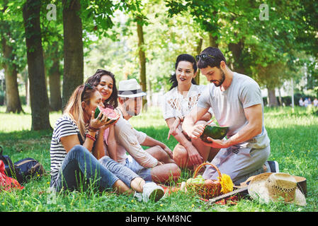 Gruppe von Freunden mit Picknick in einem Park an einem sonnigen Tag - Leute rumhängen, Spaß, Grillen und entspannen - Stockfoto