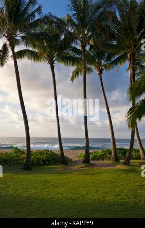 Paradies morgen Licht und entlang der Südküste am Po'ipu auf Hawaii Insel Kauai. - Stockfoto