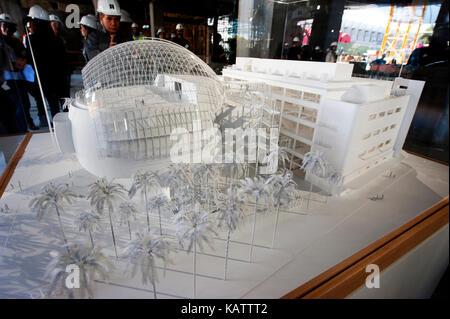 Los Angeles, USA. 27 Sep, 2017. Das architekturmodell Rendering der Akademie Museum von Motion Pictures, das von - Stockfoto