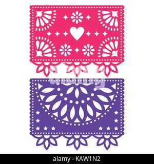 Papel Picado vector Template Design, Mexikanische papierdeko Blumen und geometrische Formen, zwei party Banner - Stockfoto