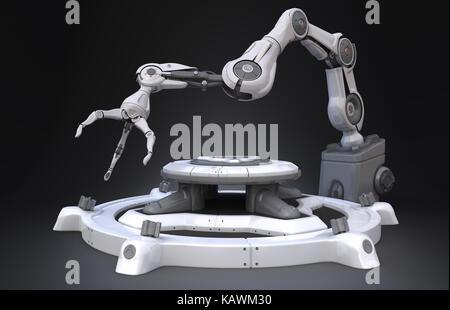 Sci-Fi Industrial robot arm. 3D-Darstellung - Stockfoto