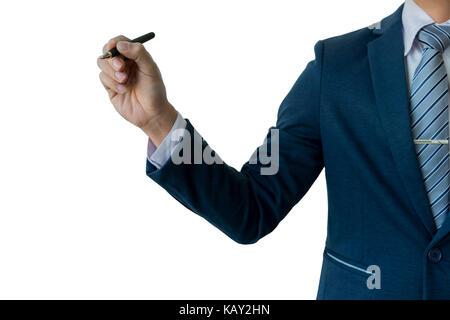 Geschäftsmann, Schreiben, Zeichnen auf dem Bildschirm, Leere transparente Whiteboard mit Kopieren, auf weißem Hintergrund - Stockfoto