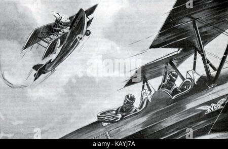 Eine Illustration von den Jungen eigenen jährlichen 1932-33 - ein Krieg der Kampf zwischen zwei bi-Ebenen (eine - Stockfoto