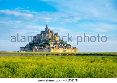 Le Mont-Saint-Michel, UNESCO-Weltkulturerbe, Manche, Normandie, Frankreich, Europa - Stockfoto