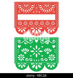 Mexikanische Papel Picado vector Template Design, Ausschnitt Papier Dekoration Blumen und geometrische Formen, zwei - Stockfoto