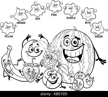 lustige früchte set cartoon malvorlagen stockfoto, bild