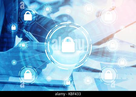 Double Exposure Business, Sicherheit und globale Vernetzung Konzept - Stockfoto