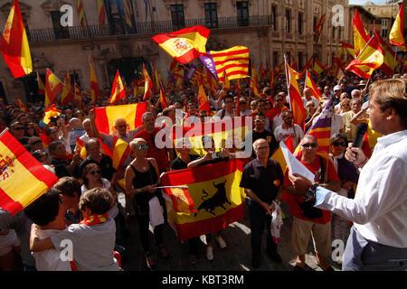Palma de Mallorca, Balearen, Spanien. 30 Sep, 2017. Spanien sind wir alle. Manifestation in Malllorca Unzufriedenheit - Stockfoto
