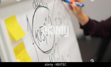 Geschäftsmann setzt seine Ideen auf dem Whiteboard während einer Präsentation im Konferenzraum. Schwerpunkt in den - Stockfoto