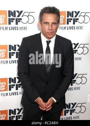 New York, New York, USA. 1. Okt 2017. Schauspieler Ben Stiller besucht die 55th New York Film Festival Premiere - Stockfoto