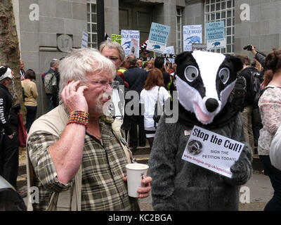 Bill Oddie und ein Dachs 1 Juni 2013 demonstrieren außerhalb des DEFRA Büros in London. - Stockfoto