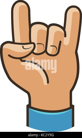 Party Symbol oder Icon. Rock, coole Geste der Hand. Cartoon Vector Illustration - Stockfoto
