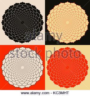 Satz von Symbolen mit Gitter Blumen in Orange und Schwarz - Stockfoto