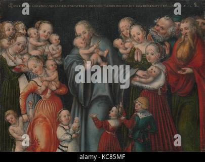 christus segnet die kinder - von lucas cranach der jüngere, 1550 stockfoto, bild: 62656093 - alamy