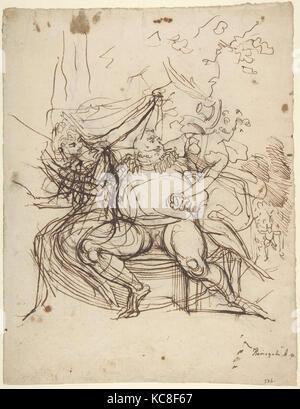 Falstaff mit Frau Ford und Frau Seite (Shakespeare, Die lustigen Weiber von Windsor, Akt 5, Szene 5), Henry Fuseli, - Stockfoto