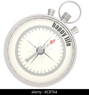 Kompass mit Nadel nach dem Text Happy Life Bild mit Hi-res gerenderte Grafiken, die für jede beliebige Grafik Design - Stockfoto