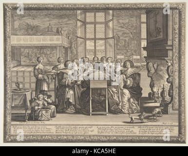 Frauen am Tisch während der Abwesenheit ihrer Männer, Abraham Bosse, Ca. 1636 - Stockfoto