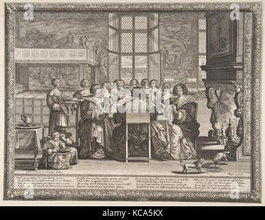 Frauen am Tisch während der Abwesenheit ihrer Männer, Abraham Bosse, Ca. 1635 - 36 - Stockfoto