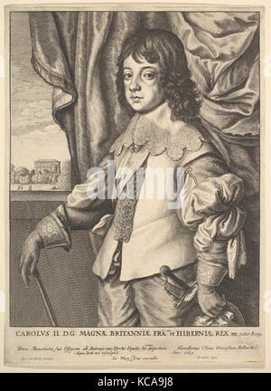 Charles II., 1649, Radierung; thirde Zustand von sechs (NH), Blatt: 10 in. × 7 5/16 in. (25,4 x 18,6 cm), Drucke, - Stockfoto