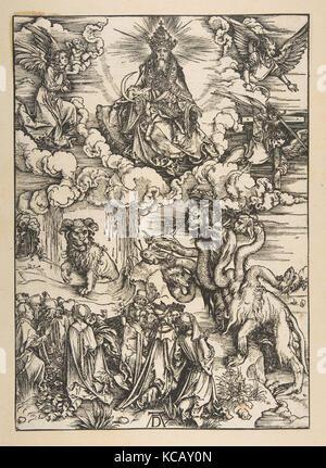Das Tier mit zwei Hörnern wie ein Lamm aus der Apokalypse, lateinischen Ausgabe 1511, Albrecht Dürer, Ca. 1496 - Stockfoto