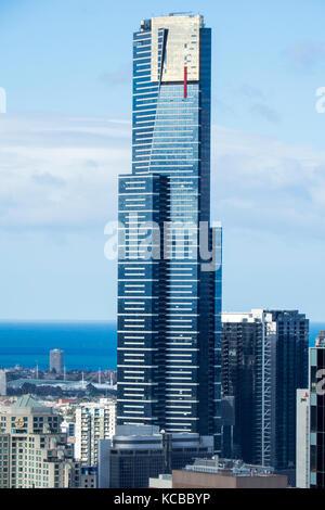 Eureka Tower, dem höchsten Wohnturm in der südlichen Hemisphäre, in Melbourne, Victoria, Australien.