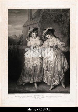 Zeichnungen und Drucke, Drucken, Frau Ford und Frau Seite (Shakespeare, Die lustigen Weiber von Windsor, Akt 2, - Stockfoto