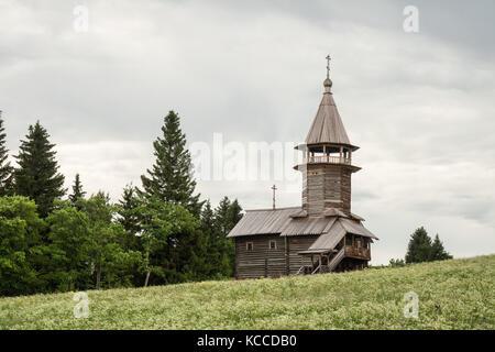 Alte hölzerne Kirche, Kapelle von drei sanctifiers, Insel Kizhi, Karelien, Russland - Stockfoto