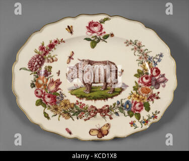 Teller, Ca. 1752 - 56, Britische, Chelsea, weiche Hartporzellan, 12 3/4 x 9 3/4 in. (32,4 x 24,8 cm), Ceramics-Porcelain, - Stockfoto
