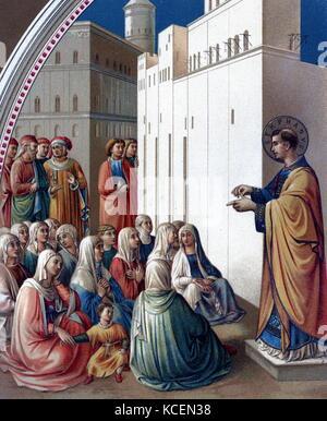 Die Predigt des hl. Stephanus Nach der Fresken von Fra Angelico aus Wissenschaft und Literatur im Mittelalter von - Stockfoto