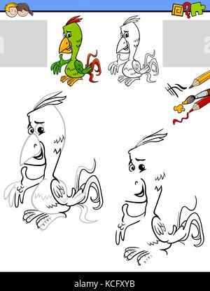 Zeichnung und Färbung Aktivität mit Papagei Vogel Stockfoto, Bild ...
