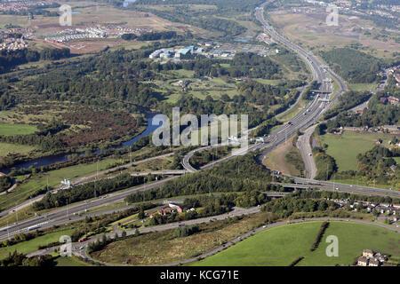 Luftaufnahme von M73 & M74 Autobahn Anschlussstelle Larkhall in der Nähe von Glasgow, Schottland - Stockfoto