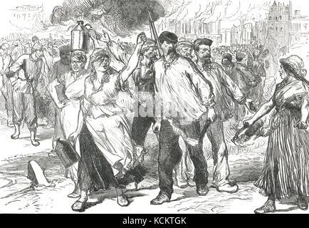 Pétroleuses in Paris, blutige Woche, 1871. Die letzten Tage der Pariser Kommune - Stockfoto