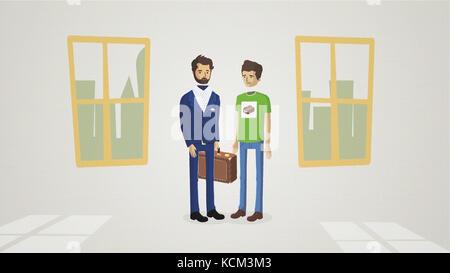 Geschäft Leute die Hände schütteln, bis Beendigung einer Versammlung Animation. einladenden Geschäftspartner handshake. - Stockfoto