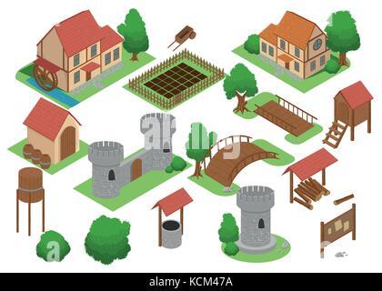 Mittelalterliches Haus Fliesen online strategische Android video game Insight. Entwicklung map-Element isometrische - Stockfoto