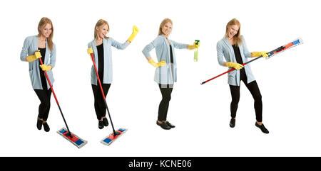 Fotos von jungen Putzfrau mit Mop. auf weißem Hintergrund - Stockfoto