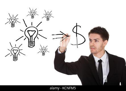 Ideen in cash Konzept auf weißem Bildschirm umwandeln - Stockfoto