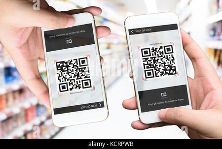 Qr-code Zahlung, Online-Shopping, bargeldlose Technologie Konzept. Ladengeschäft akzeptierten digitalen Pay ohne - Stockfoto