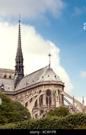 Notre-Dame de Paris, Blick auf die südlichen Fassade von der Seine - Stockfoto