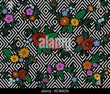 Stickerei farbenfrohe Blumenmuster mit Hund Rosen und vergiss mich nicht Blumen. Vektor volkstümlichen Mode Schmuck - Stockfoto