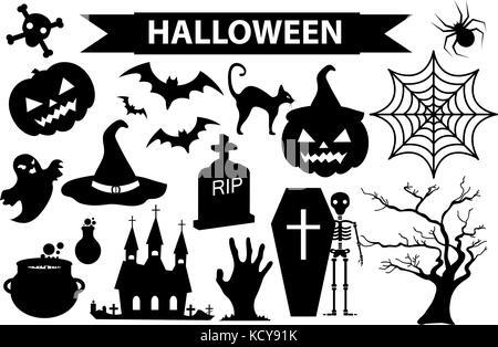 Kürbis Vector Icons Set, Halloween gruselige Gesichter Design ...